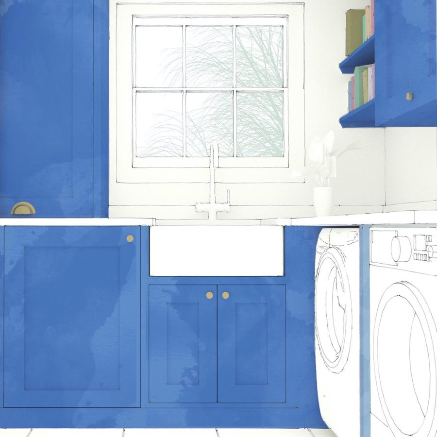 Shaker style kitchen sketch for Kensington project by Holland Street Kitchens