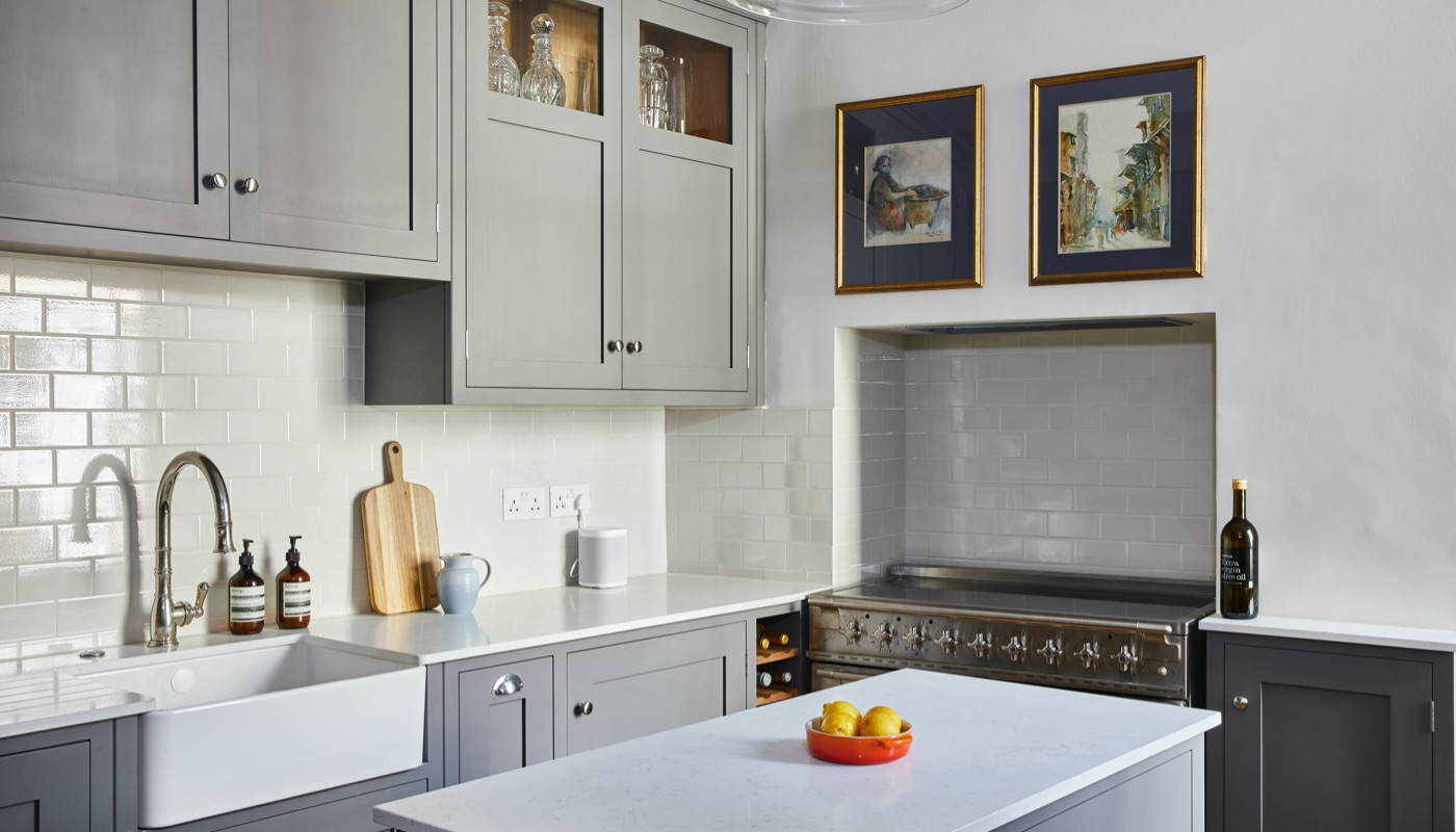 Grey shaker kitchen in Victoria, London designed and build by Holland Street Kitchens