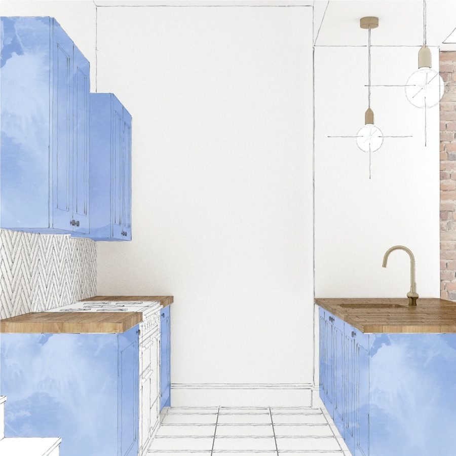 Blue shaker kitchen sketch for Wandsworth project by Holland Street Kitchens